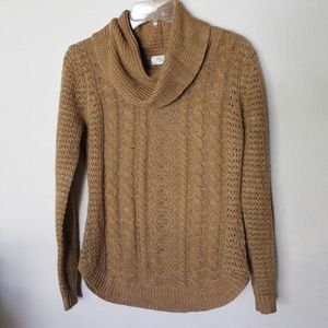 RD Style Cowl Neck Cable Knit Sweater Camel Brown